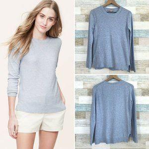 LOFT Stitchy Sweater Blue Crewneck Cotton Cashmere